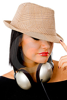 Portrait Of Young Female Wearing Headphone And Hat Royalty Free Stock Photos - Image: 8147148