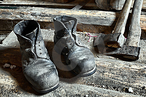Boots And Ax Royalty Free Stock Photo - Image: 8147855