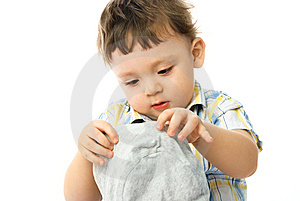 One Year Old Boy Putting On A Hat Stock Photography - Image: 8148282