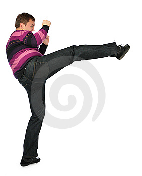 Man Kicks A Foot From Scope Stock Photo - Image: 8148330