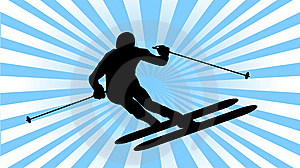 Ski Athlete Slalom Silhouette Stock Images - Image: 8148954