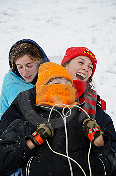 Closeup Of Children On Sledge Stock Photography - Image: 8149442