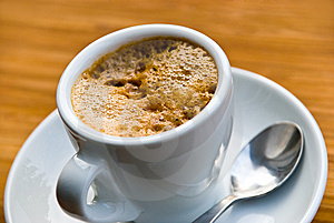A Cup Of Fresh Brewed And Hot Espresso Stock Photography - Image: 8153592