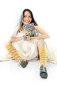 Funny Beautiful Bride Wearing Running Shoes Royalty Free Stock Photo - Image: 8153615