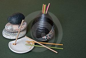 Aromatic Sticks, Porcelain Stand And Japan Vase Royalty Free Stock Photography - Image: 8154967