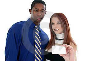 Business Man and Woman with Business Card Stock Image