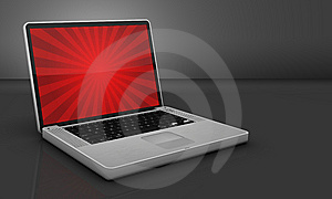 Glossy Steel Laptop On Gray Background Royalty Free Stock Photography - Image: 8156857