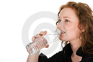 Young Woman Drinking Mineral Water Stock Photo - Image: 8157430