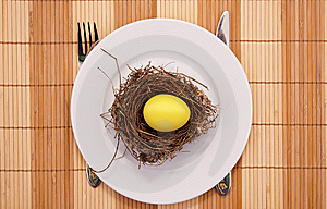 Gold Egg In A Nest Served On A Plate Royalty Free Stock Photo - Image: 8160875