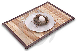 Egg In A Nest Served On A Plate Royalty Free Stock Images - Image: 8160889