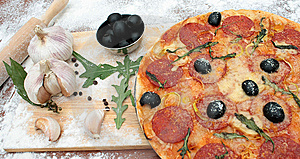 Pizza and the ingredients Royalty Free Stock Photography