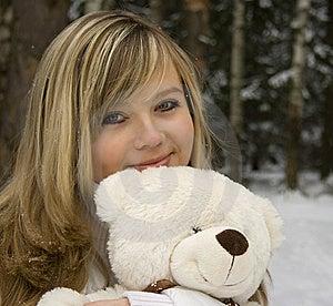 Ekaterina With Bear. Stock Image - Image: 8162941