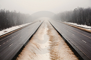 Snowy Highway In The Dark Foggy Forest Stock Photography - Image: 8165722