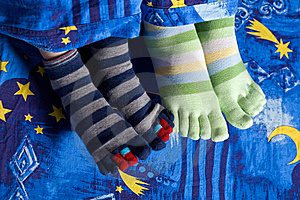 Two Pairs Of Feet In Socks Stock Images - Image: 8165904