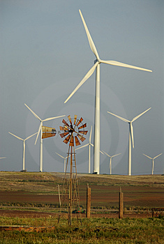 Windmill Surrounded By Wind Turbines Stock Photography - Image: 8169622