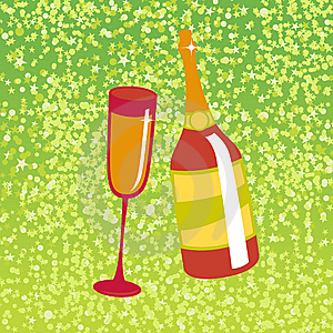 Wine Bottle And  Glas Stock Image - Image: 8169631
