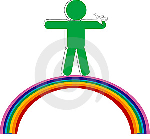 Persons On Rainbow With Dove Royalty Free Stock Photography - Image: 8169817