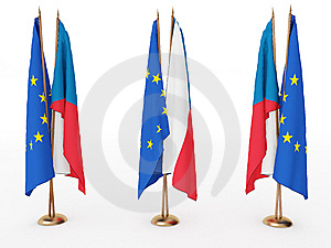 Flags Of EU And The Czechia Royalty Free Stock Photo - Image: 8170655