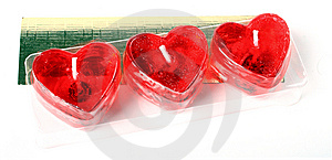 Row Of Red Heart Candles Royalty Free Stock Image - Image: 8171146