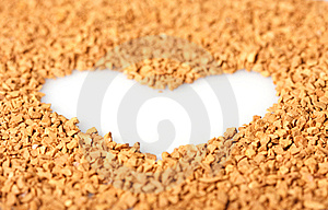 Instant Coffee Grains Around Heart Contour Stock Photo - Image: 8172460