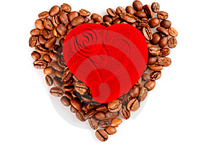 Red Heart Box And Coffee Stock Photography - Image: 8172482