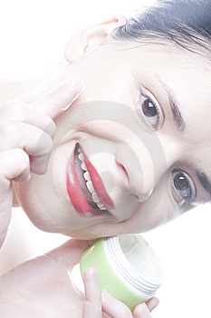 Woman With Face Cream Stock Photo - Image: 8172900