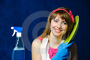 Young Housewife Washing The Dishes Royalty Free Stock Images - Image: 8176259