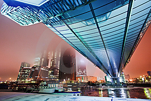 Blue Bridge Over A River In The Evening Royalty Free Stock Photography - Image: 8178147