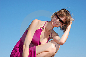 Beautiful Girl Squatting Outdoors Royalty Free Stock Images - Image: 8181689