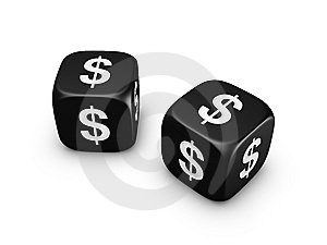 Pair Of Black Dice With Dollar Sign Stock Photo - Image: 8182610