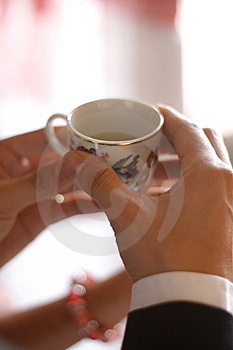 Hand Holding Chinese Wedding Cup Stock Image - Image: 8182711