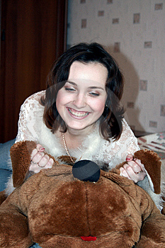 The Girl With A Plush Toy Stock Images - Image: 8182894