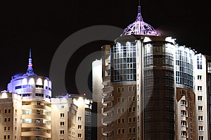 Night Buildings Royalty Free Stock Image - Image: 8182906