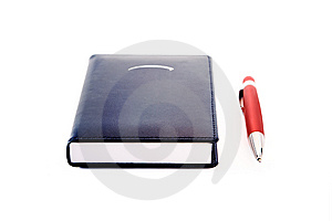 Notepad  With Red Ballpoint Stock Photo - Image: 8183860