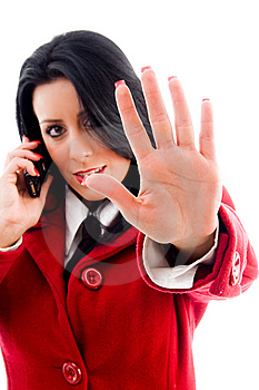Woman Interacting On Cell Phone Stock Images - Image: 8184004