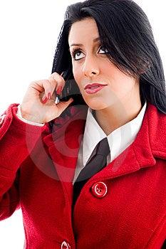 Jovem Mulher Que Fala No Telefone E Que Olha Para Cima Imagem de Stock Royalty Free - Imagem: 8184066