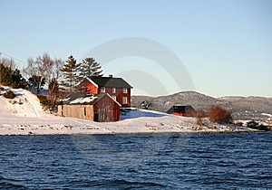 Houses On A Winter Shore Royalty Free Stock Image - Image: 8186546
