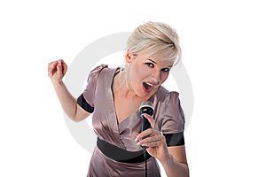 Blonde With Mic Stock Photography - Image: 8189482