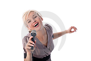 Girl With Mic Stock Photography - Image: 8189532