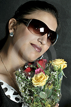 Girl With Roses Royalty Free Stock Images - Image: 8190069