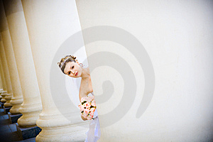 Bride In Columns Stock Image - Image: 8190091