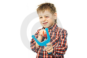 Little Boy With A Slingshot Royalty Free Stock Photos - Image: 8190308