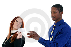 Business Man And Woman With Business Card Royalty Free Stock Image - Image: 8191026
