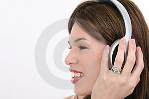 Profile Beautiful Hispanic Woman With Headphones Stock Photo - Image: 8191060