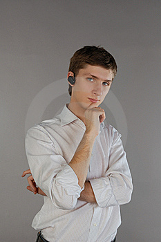 Young Man With A Bluetooth Headset Stock Photos - Image: 8191173