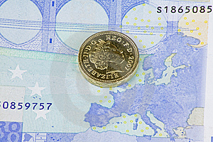 Pound And The Euro Royalty Free Stock Image - Image: 8192126