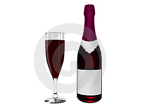 Wine bottle and wine in glass Royalty Free Stock Photos