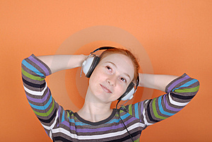 Woman In Headphones Royalty Free Stock Photos - Image: 8193028