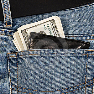 Wallet With Money In Of Jeans Stock Photos - Image: 8195083