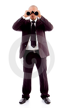 Standing Male Looking Through Binocular Royalty Free Stock Images - Image: 8196219